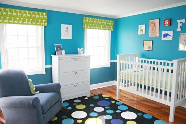 teppich babyzimmer schwarz bunte punkte