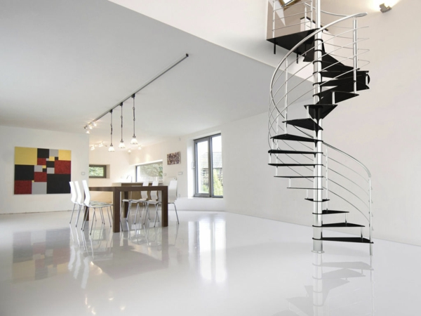 treppenhaus gestalten schwarze stufen glas metallgeländer