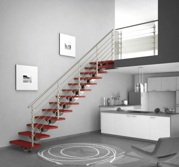 treppenhaus metallgeländer rote stufen
