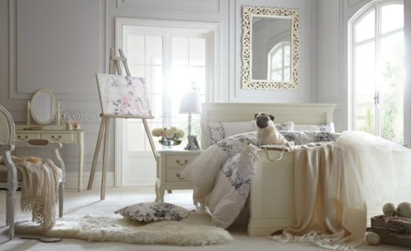 vintage schlafzimmer einrichten weißes interieur teppich