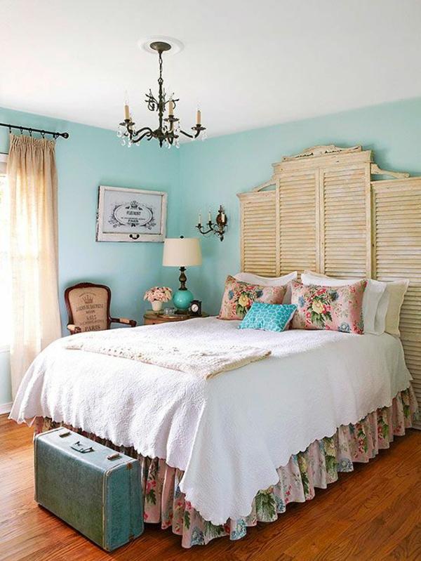 vintage schlafzimmer tolles bettkopfteil wandfarbe mintgrün