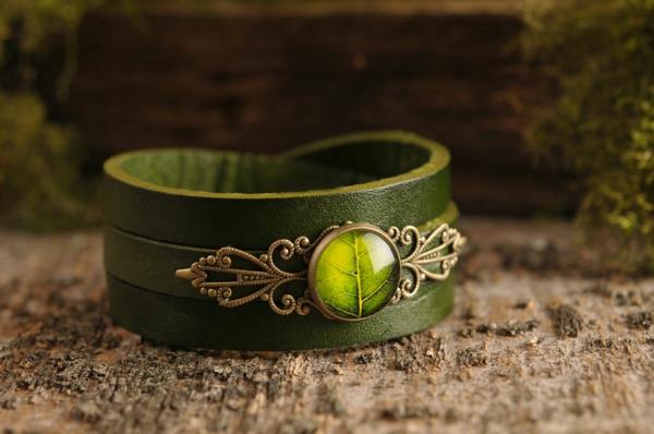 vintage schmuck grünes armband leder
