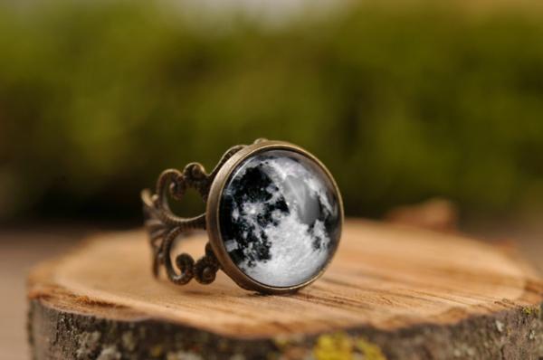 vintage schmuck ring vollmond planet