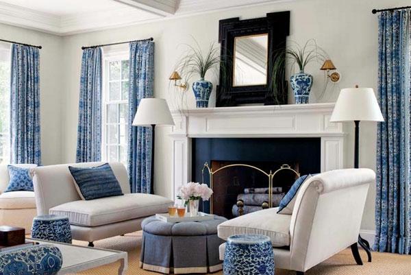 wohnung gestalten ideen wohnzimmer weiß blau kamin