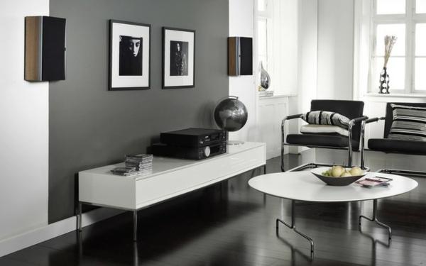 wohnzimmereinrichtung elegant schlicht weiß schwarz