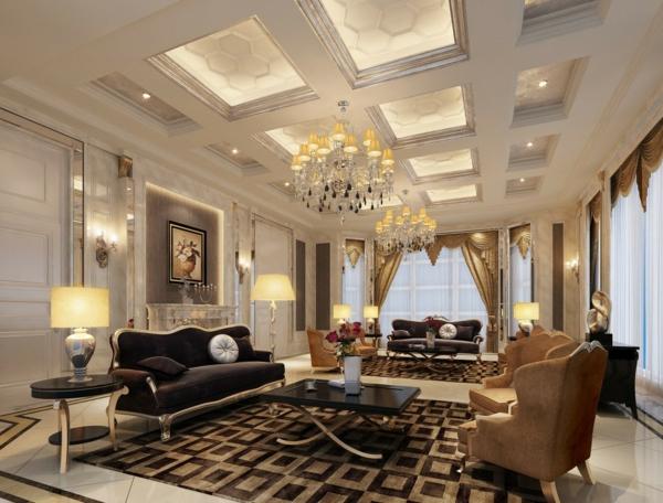 wohnzimmereinrichtung ideen leuchter luxuriöse einrichtung
