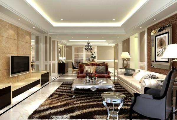 wohnzimmereinrichtung ideen luxuriös teppich einbauleuchten