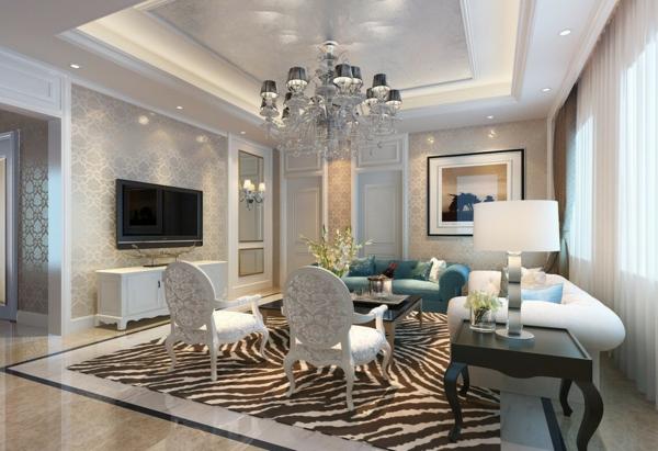 Wohnzimmereinrichtung Ideen Luxurise Wandgestaltung Tapeten