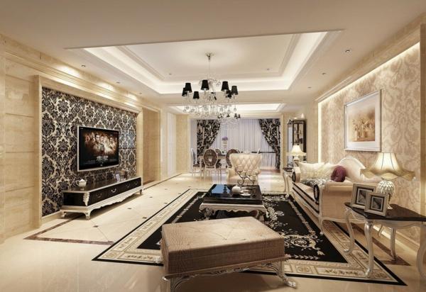 wohnzimmereinrichtung ideen teppich gardinen schönes muster