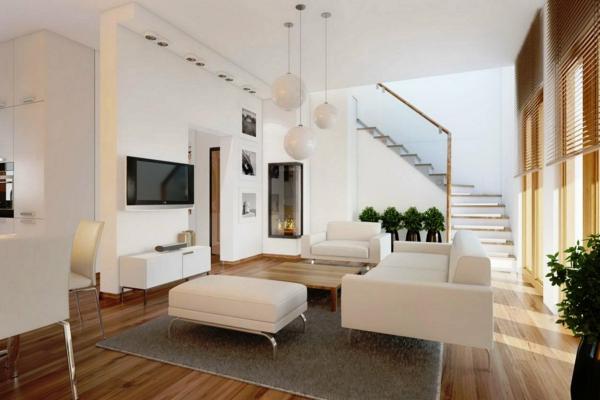 Wohnzimmereinrichtung ideen weiße möbel hellgrauer teppich