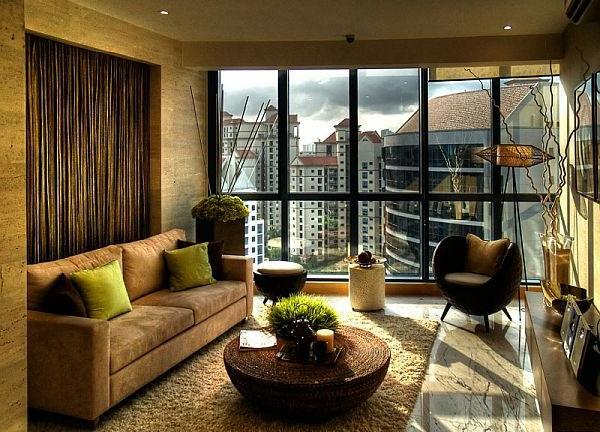 wohnzimmereinrichtung tolle wandgestaltung panoramafenster