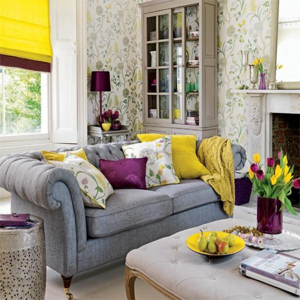Wohnzimmereinrichtung Wandtapete Floral Tulpen Deko