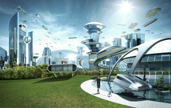 zeitgenössische kunst architektur fliegende autos sonnenenergie