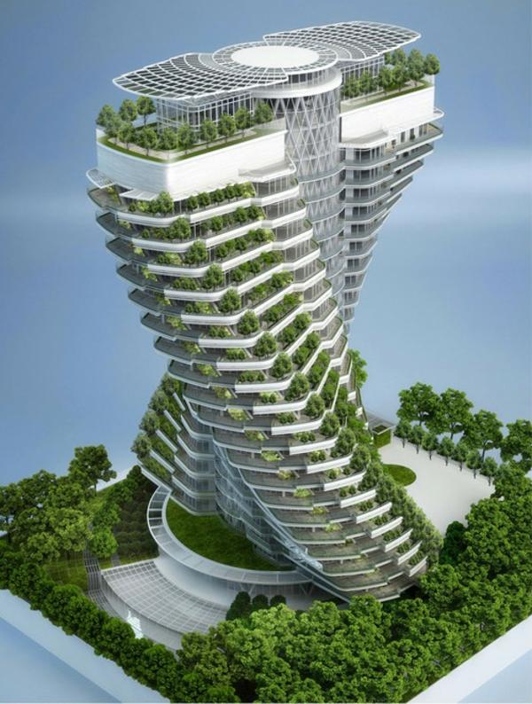 zeitgenössische kunst architektur solaranlagen grüne vegetation