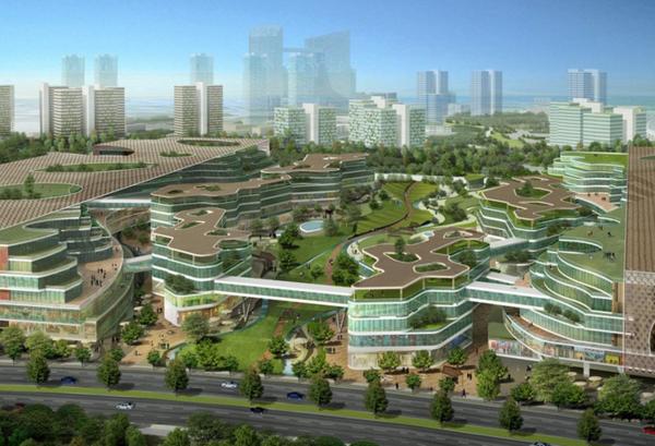 zeitgenössische kunst architektur terrassen etagen grün