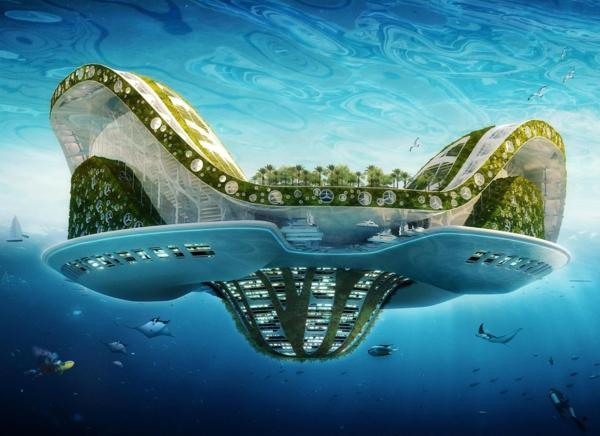 zeitgenössische kunst baukunst schwimmende ökostadt