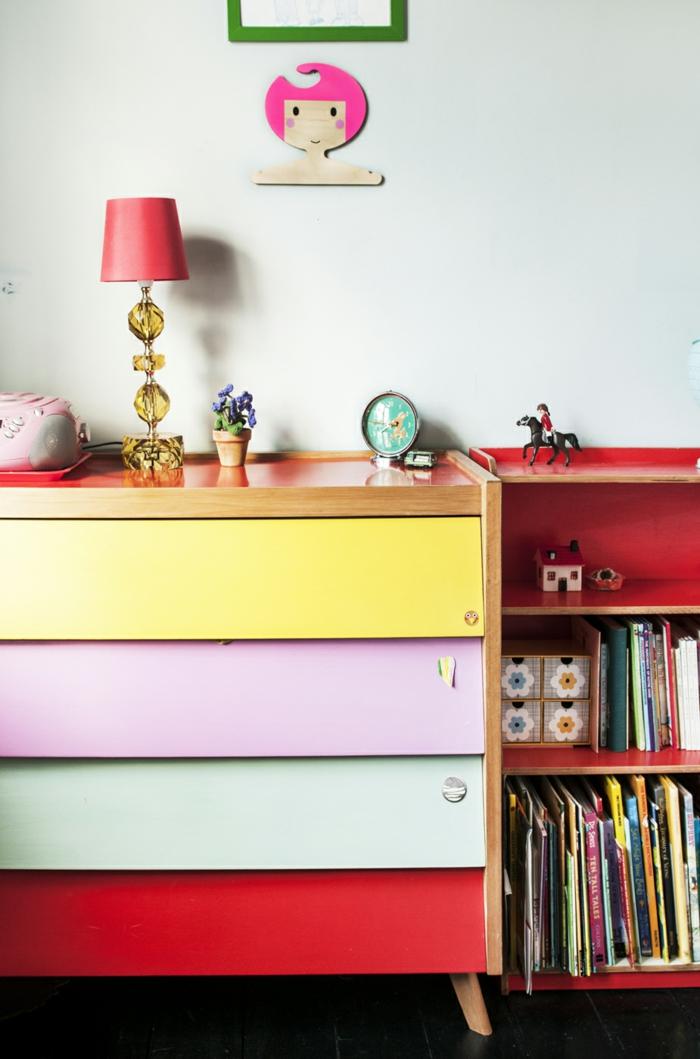 zimmer streichen ideen farbige möbelstücke schubladen