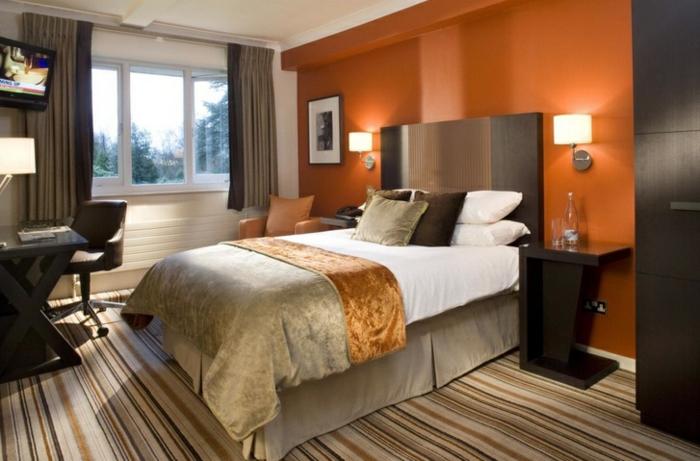 zimmer streichen ideen schlafzimmer orange akzentwand