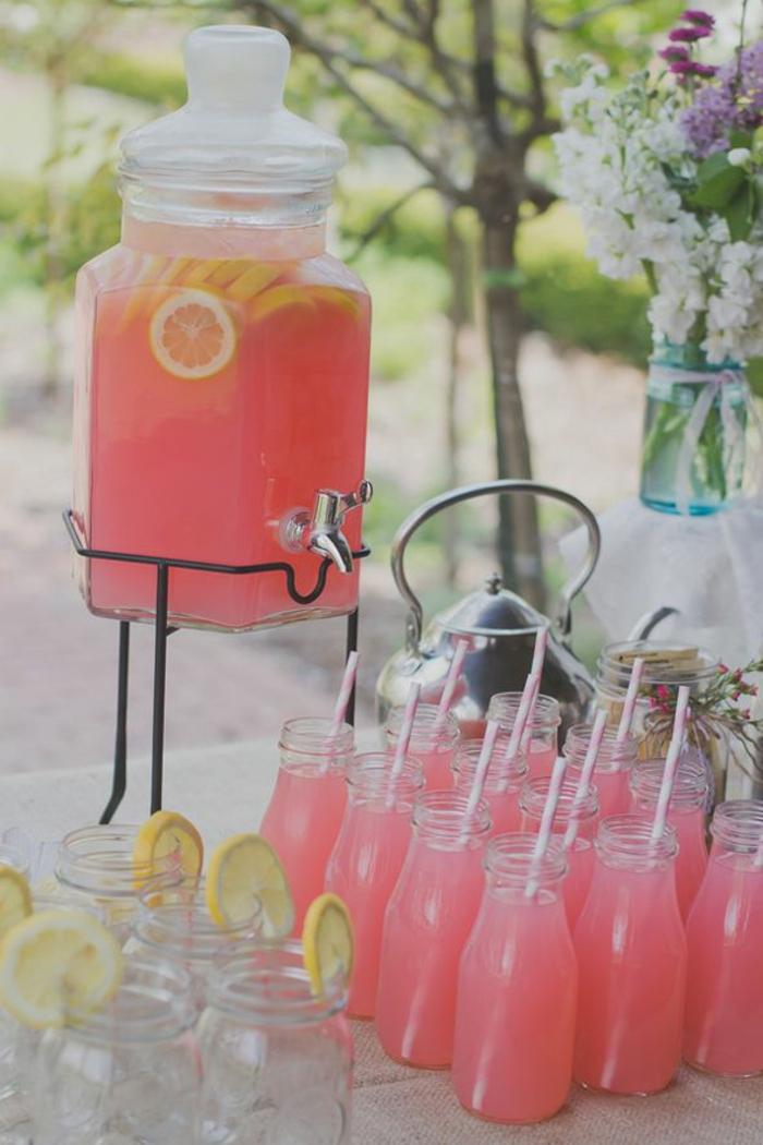 Babyparty deko tischdeko odeen erfrischende getränke in rosa