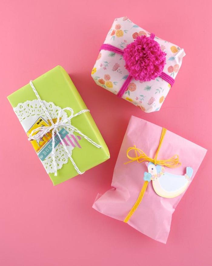 Babyparty geschenke dekorieren verpackungspapier lustig bunt