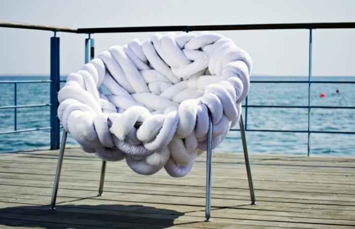 Designer Einrichtung  Stahl Wolle Stuhl