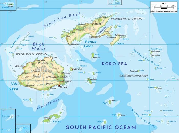 Fidschi Inseln Urlaub landkarte fiji inseln besuchen