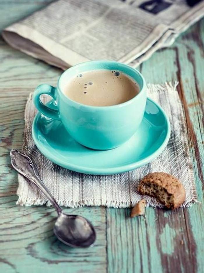 Guten Morgen Kaffee grüne tasse löffel