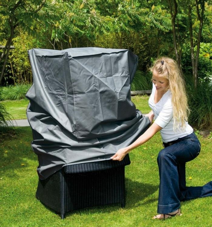 Schutz für Gartenmöbel Plane rattan sessel