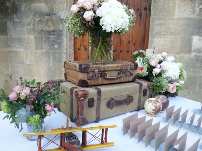 alte koffer vintage hochzeitsdeko ideen pfingstrosen