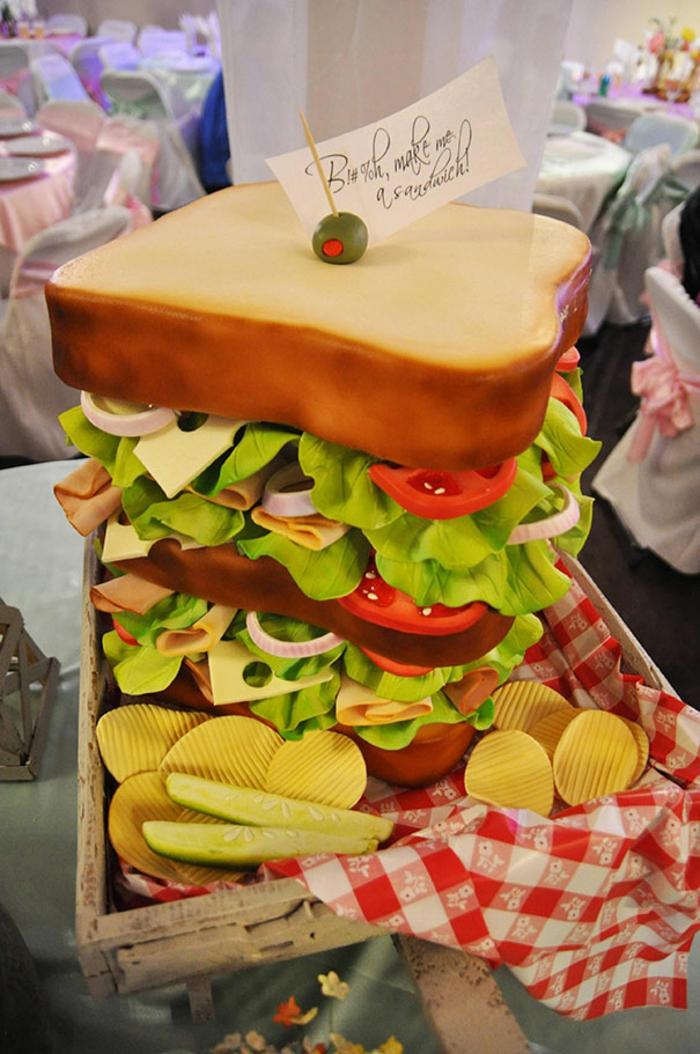 außergewöhnliche torten kuchen fast food hamburger