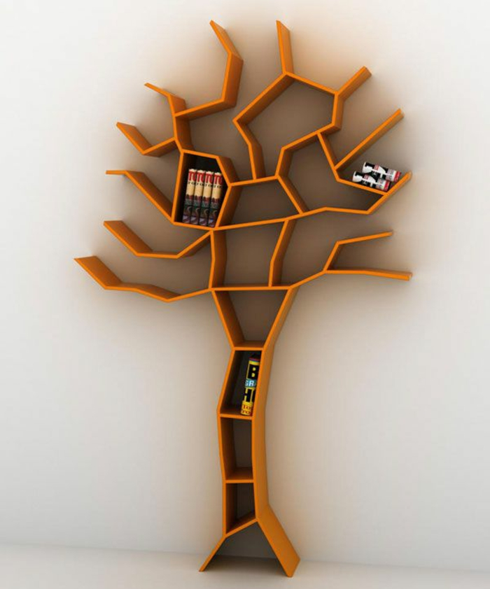 bücherregal wandregal baum orange