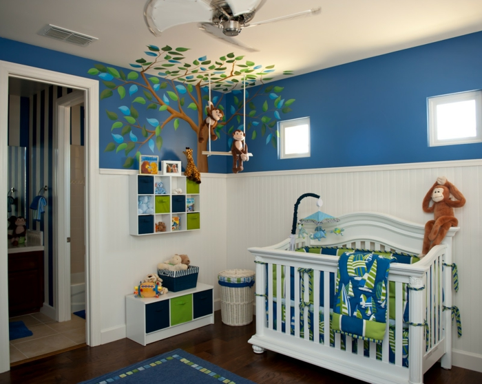Kinderzimmer Wandgestaltung Blau Wohndesign