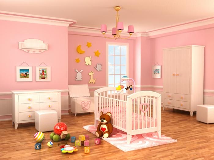 Babyzimmer gestalten wände rosa  Babyzimmer-Einrichtungsideen, wie Sie ein herrliches Ambiente schaffen