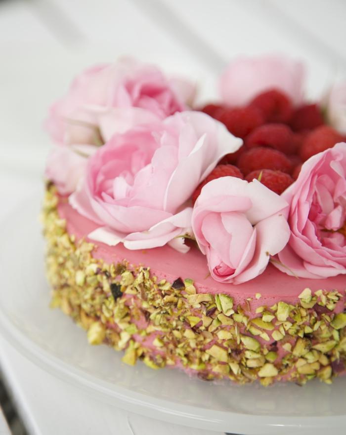 backen ohne kohlenhydrate himbeeren pistazien rosen kuchen
