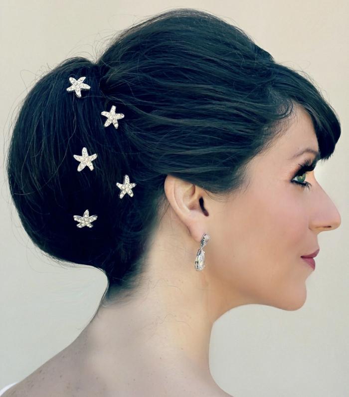 brauthaarschmuck elegante hochsteckfrisur haarklammern sterne