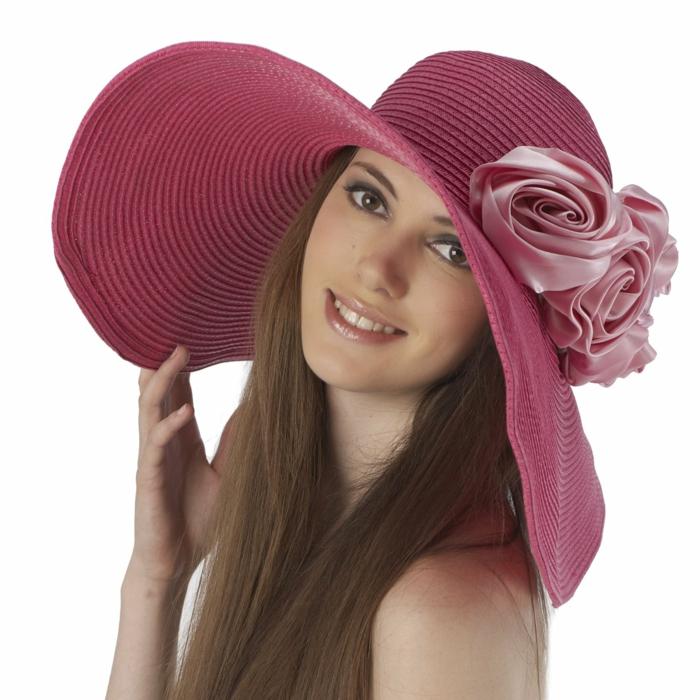 damenhüte strohhut sommer pink rosen deko