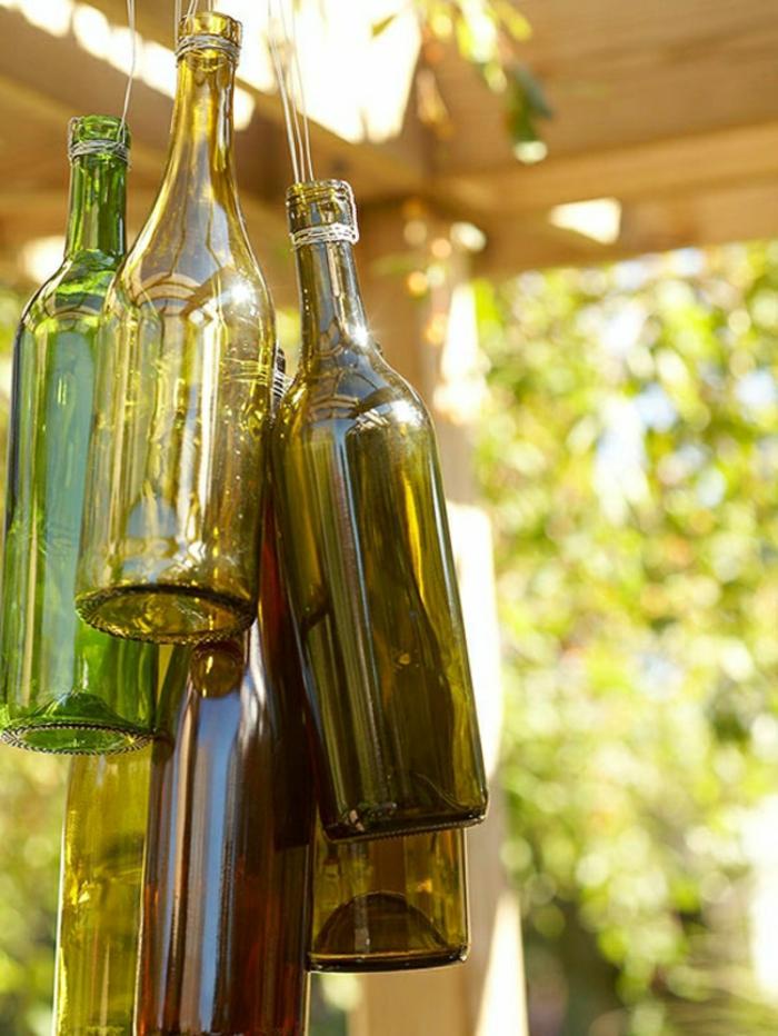 diy ideen gartenaccessoires glasflaschen gartendekorationen