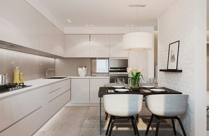 wohnzimmer weiß modern:küche modern einrichten minimalistisch weiße ziegelwand