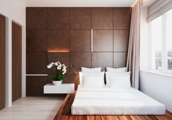 einrichtungsideen schlafzimmer einrichten nachttisch blumen cole wandleuchte