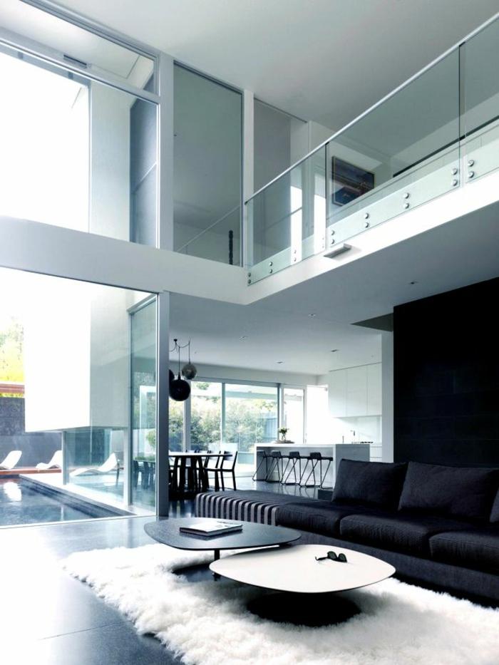 schwarz wohnzimmer:einrichtungsideen wohnzimmer weißer teppich schwarzes sofa