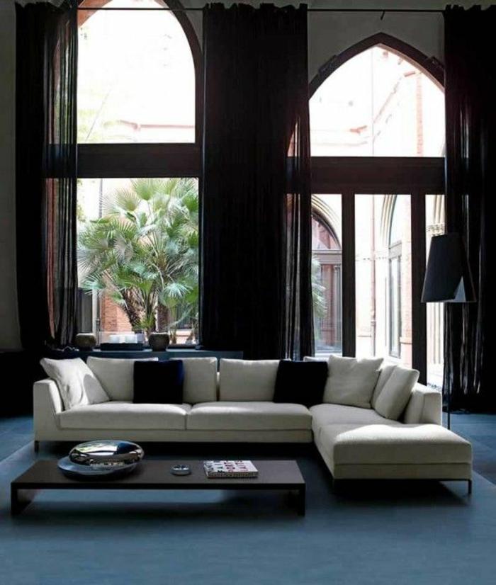 einrichtungsideen wohnzimmer weißes ecksofa lange gardinen