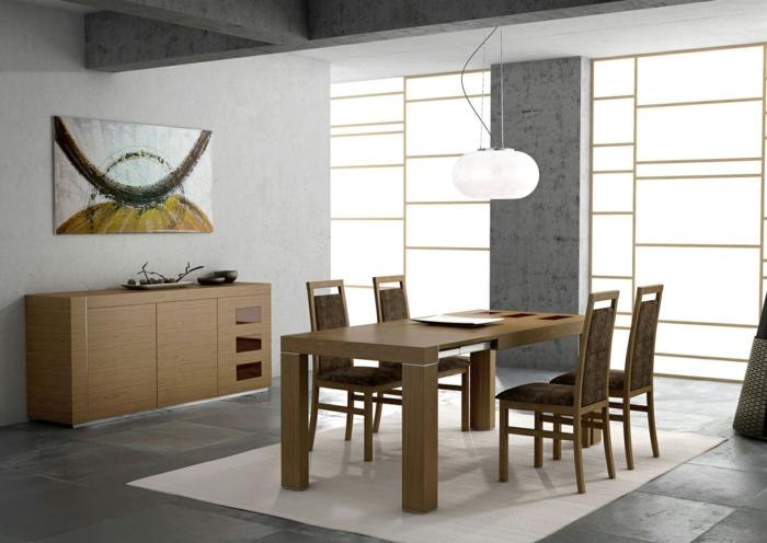 esszimmermöbel design schlicht minimalistisch weißer teppich
