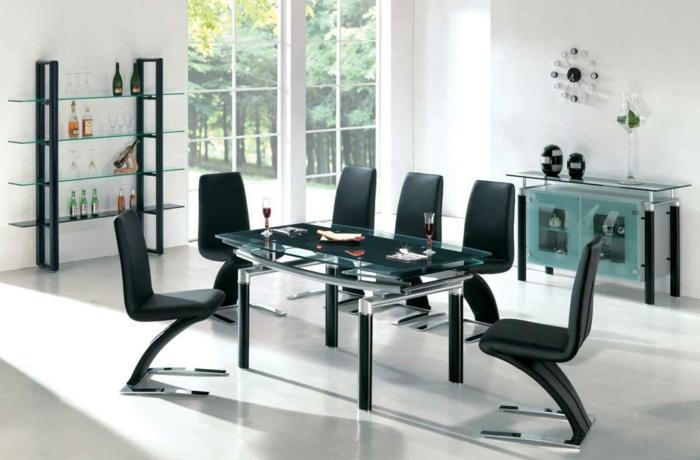 esszimmermöbel modern bequeme essstühle schwarz wanduhr