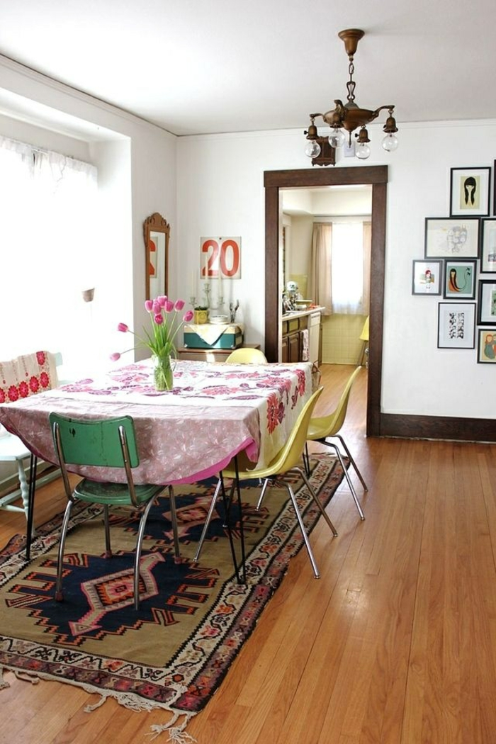 esszimmermöbel modern boho chic teppich tulpen
