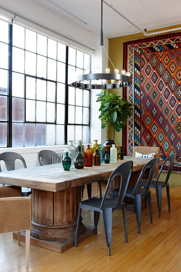 esszimmermöbel modern coole stühle rustikaler esstisch