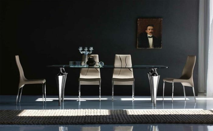 esszimmermöbel modern glastisch elegante stühle teppich