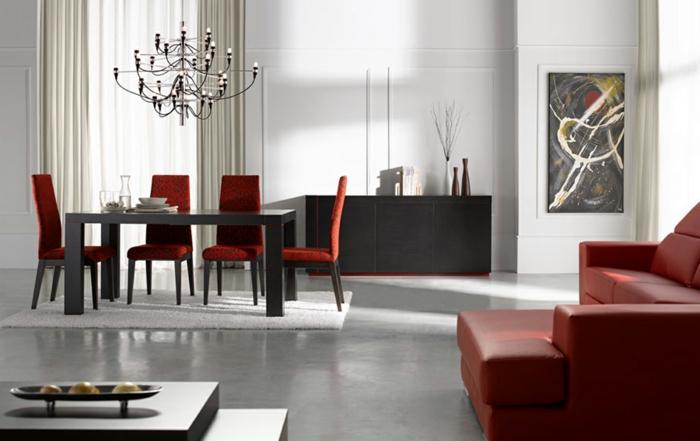 esszimmermöbel modern rote stühle leuchter