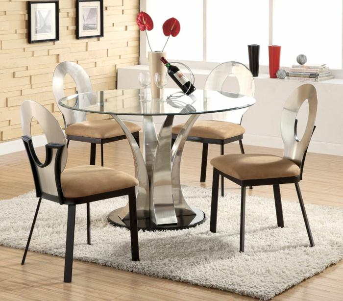 esszimmermöbel modern schickes design teppich glastisch