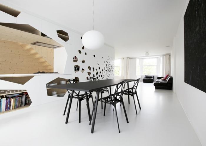 esszimmermöbel modern schwarzer tisch ausgefallene stühle tolle wanddeko