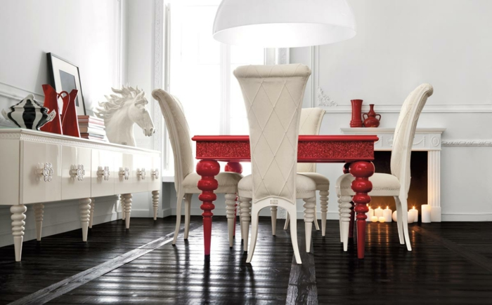 esszimmermöbel modern weiß rot kombinieren schwarzer boden